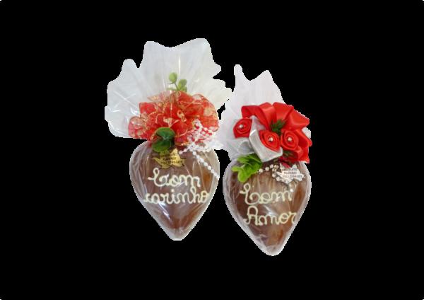 Coração Chocolate Médio Escrito