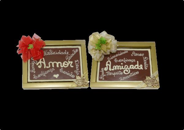 cartão de chocolate amor e amizade