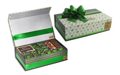 Caixa com Imã Verde/ Bege Grande