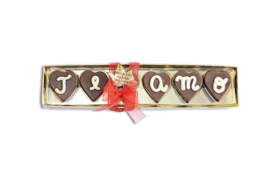 Retangular Ouro Te Amo (06 bombons coração )